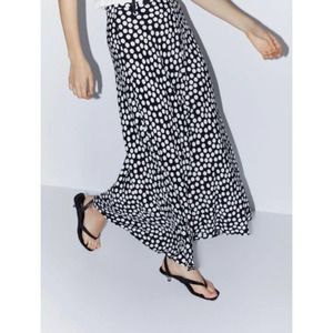 Zara Black and White Polka Dot Maxi Skirt Small